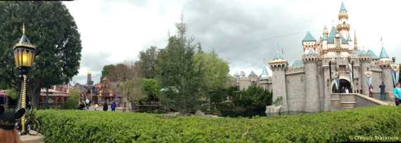 Panoramic view from  Fantasy Faire to Sleeping Beauty Castle