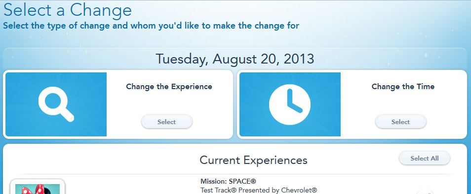how to change fastpass+ selections